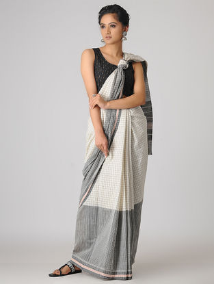 Ivory-Grey Handspun Khadi Cotton Saree