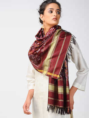 Red-Ivory Ikat Silk Stole with Zari Border