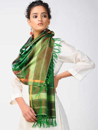 Green-Red Ikat Silk Stole with Zari Border