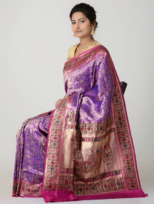 Purple-Pink Ashavali Silk Saree with Zari