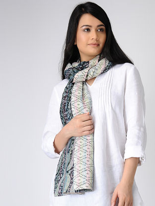 Ivory-Black Printed Kantha-embroidered silk Reversible Stole