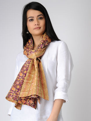 Beige-Purple Printed Kantha-embroidered silk Reversible Stole