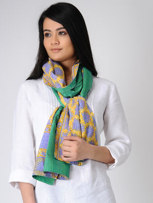Yellow-Green Printed Kantha-embroidered silk Reversible Stole