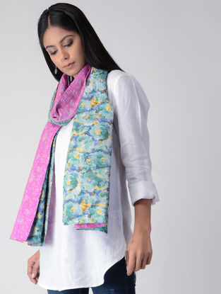 Pink-Blue Printed Kantha-embroidered silk Reversible Stole