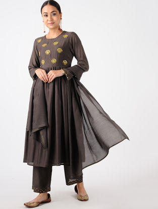 Brown Hand-embroidered Cotton Silk Kurta with Palazzos (Set of 2)
