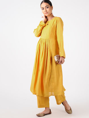 Yellow Hand-embroidered Cotton Silk Kurta with Palazzos (Set of 2)