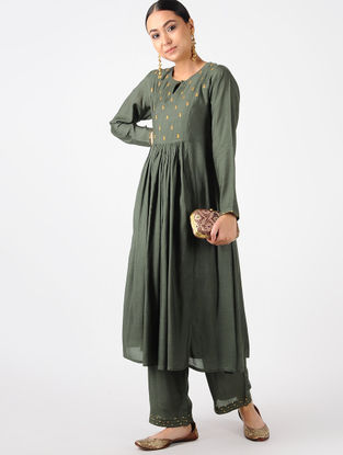 Charcoal Hand-embroidered Cotton Silk Kurta with Palazzos (Set of 2)