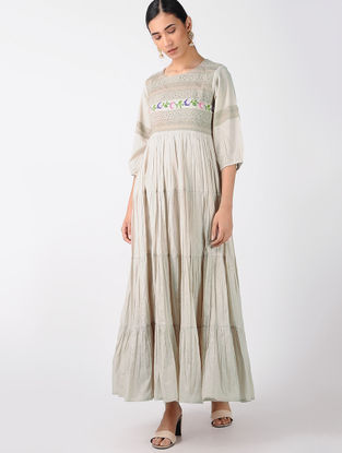 Grey Cotton Dress with Cross Stitch Embroidery