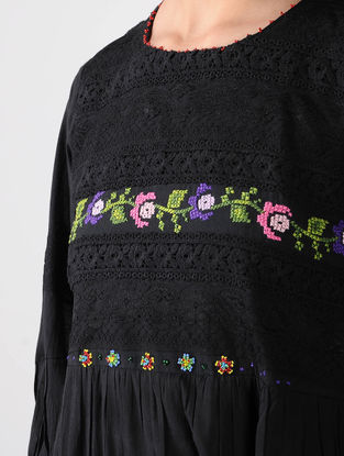 Black Cotton Dress with Cross Stitch Embroidery