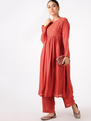 Red Hand-embroidered Cotton Silk Kurta with Palazzos (Set of 2)