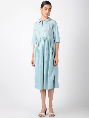 Blue Cotton Dress with Cross Stitch Embroidery