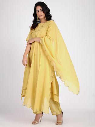 Yellow Embroidered Cotton Dupatta
