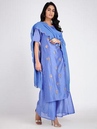 Blue Embroidered Cotton Dupatta