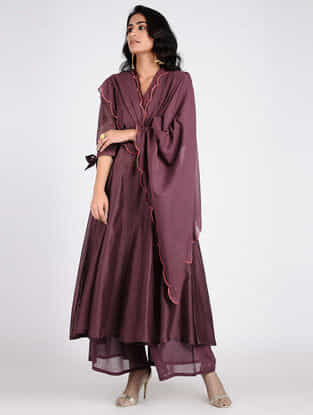 Purple Embroidered Cotton Dupatta