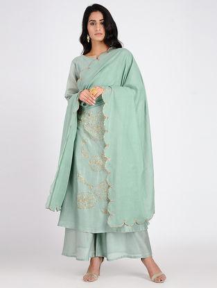 Green Embroidered Cotton Dupatta