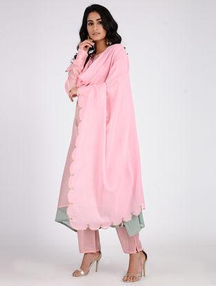 Pink Embroidered Cotton Dupatta