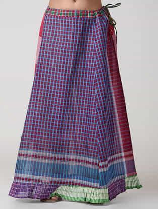 Red-Blue Cotton Gamcha Petticoat Skirt