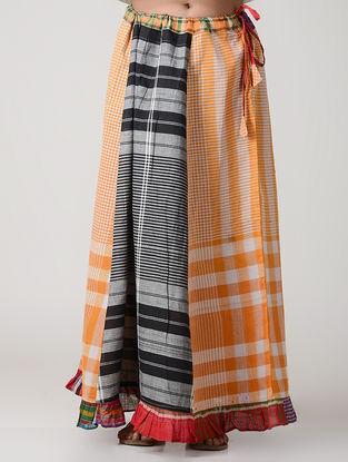 Black-Orange Cotton Gamcha Petticoat Skirt