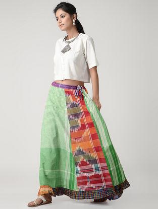 Green-Orange Cotton Gamcha Petticoat Skirt