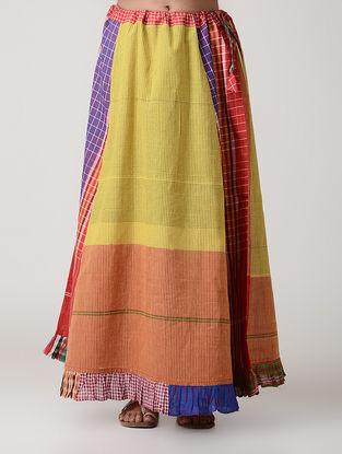Yellow-Peach Cotton Gamcha Petticoat Skirt