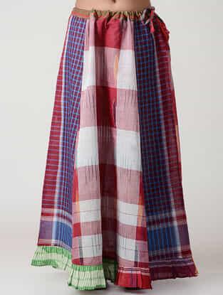 Red-Ivory Cotton Gamcha Petticoat Skirt