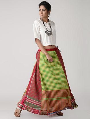 Yellow-Red Cotton Gamcha Petticoat Skirt