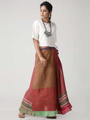 Green-Pink Cotton Gamcha Petticoat Skirt