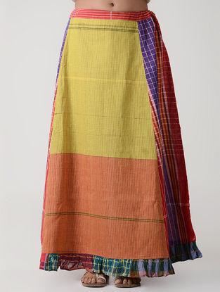 Yellow-Orange Cotton Gamcha Petticoat Skirt