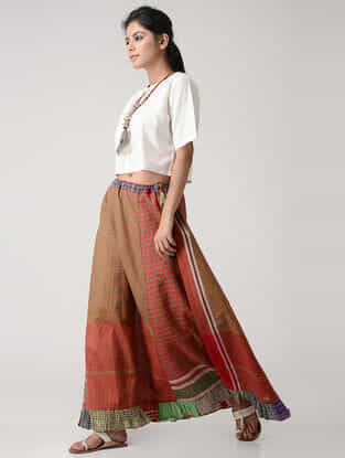 Green-Red Cotton Gamcha Petticoat Skirt
