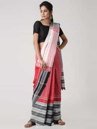 Red-Ivory Cotton Gamcha Saree with Tassels