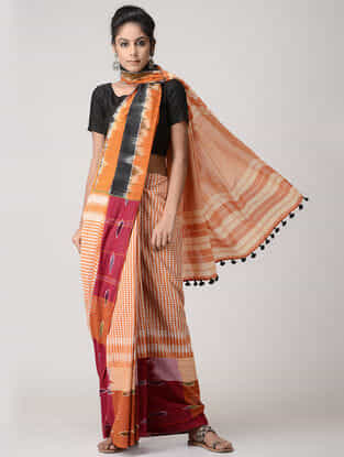 Orange-Black Cotton Gamcha Saree with Tassels
