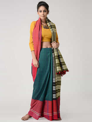 Green-Yellow Cotton Gamcha Saree with Tassels