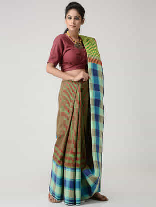 Green-Blue Cotton Gamcha Saree with Tassels