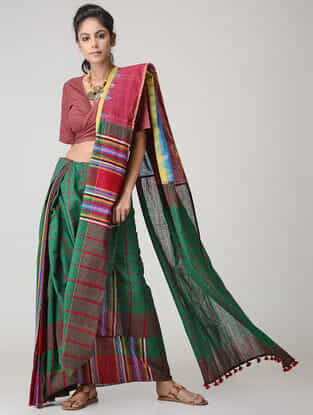Green-Red Cotton Gamcha Saree with Tassels