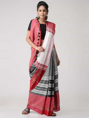 Red-Black Cotton Gamcha Saree with Tassels