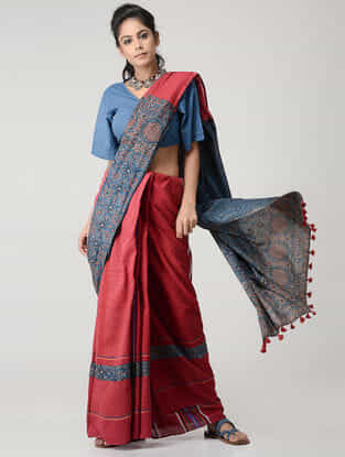 Red-Blue Cotton Gamcha Saree with Tassels