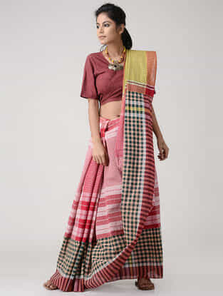 Pink-Green Cotton Gamcha Saree with Tassels