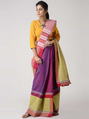 Purple-Red Cotton Gamcha Saree with Tassels