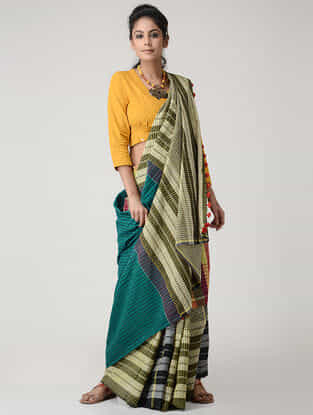 Yellow-Green Cotton Gamcha Saree with Tassels