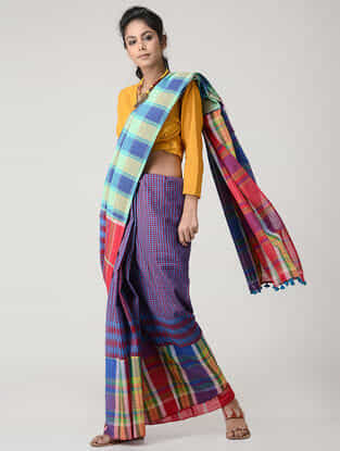 Blue-Red Cotton Gamcha Saree with Tassels