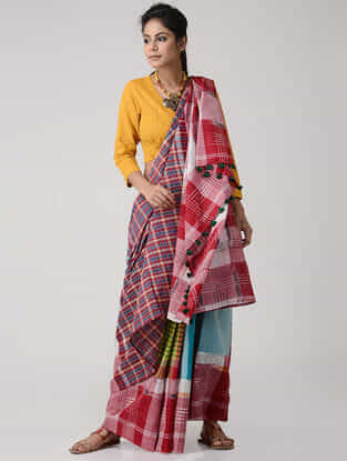 Multicolored Cotton Gamcha Saree with Tassels