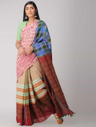 Pink-Brown Cotton Gamcha Saree with Tassels