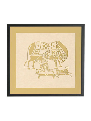 Krishna with Cow Sanjhi Wall Art 10in x 10.5in