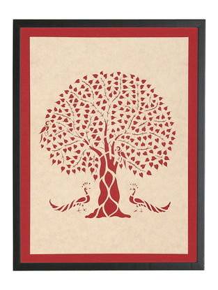 Peepal Tree with Peacock Sanjhi Wall Art14in x 11.1in