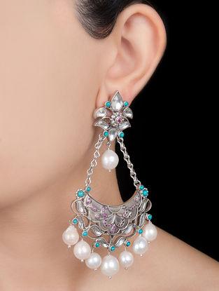Ethno Silver Pearl Earrings