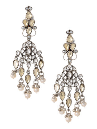 Crystal Silver Earrings with Pearls