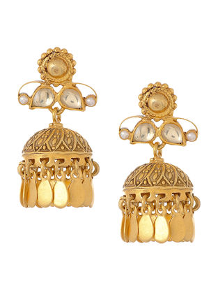 Crystal Gold Tone Silver Jhumkis