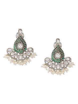 Green Crystal Silver Earrings with Pearls