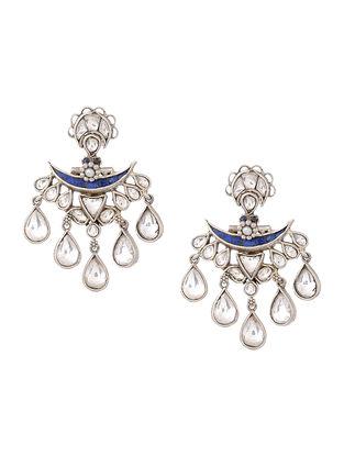 Blue Crystal Silver Earrings