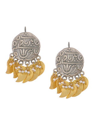 Dual Tone Silver Coin Earrings with Pearls